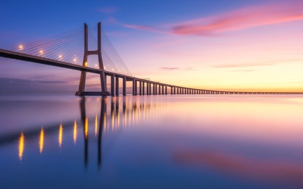 Man Made Vasco da Gama Bridge Bridges Bridge Reflection Dawn Portugal Tagus river HD Wallpaper   Background Image
