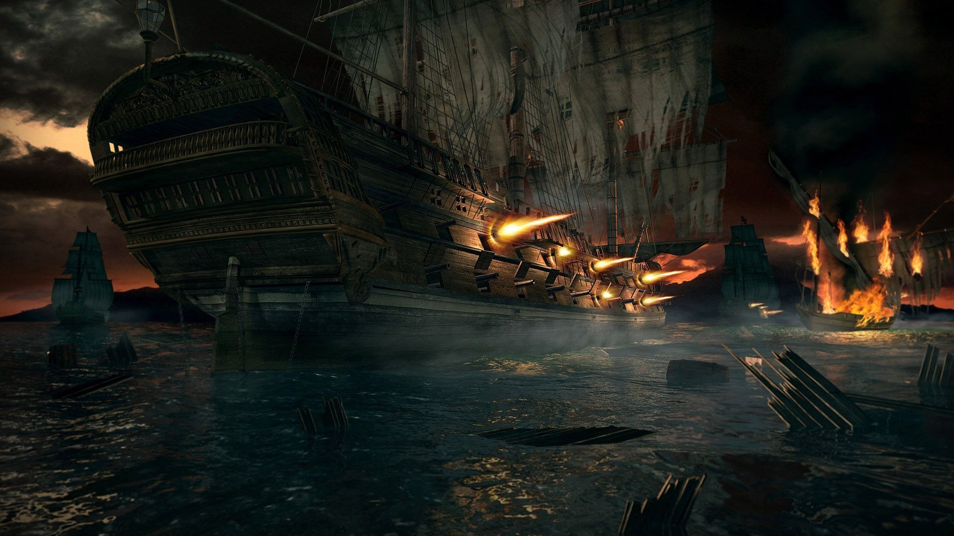 Sea battle full hd wallpaper and background image - Anime pirate wallpaper ...