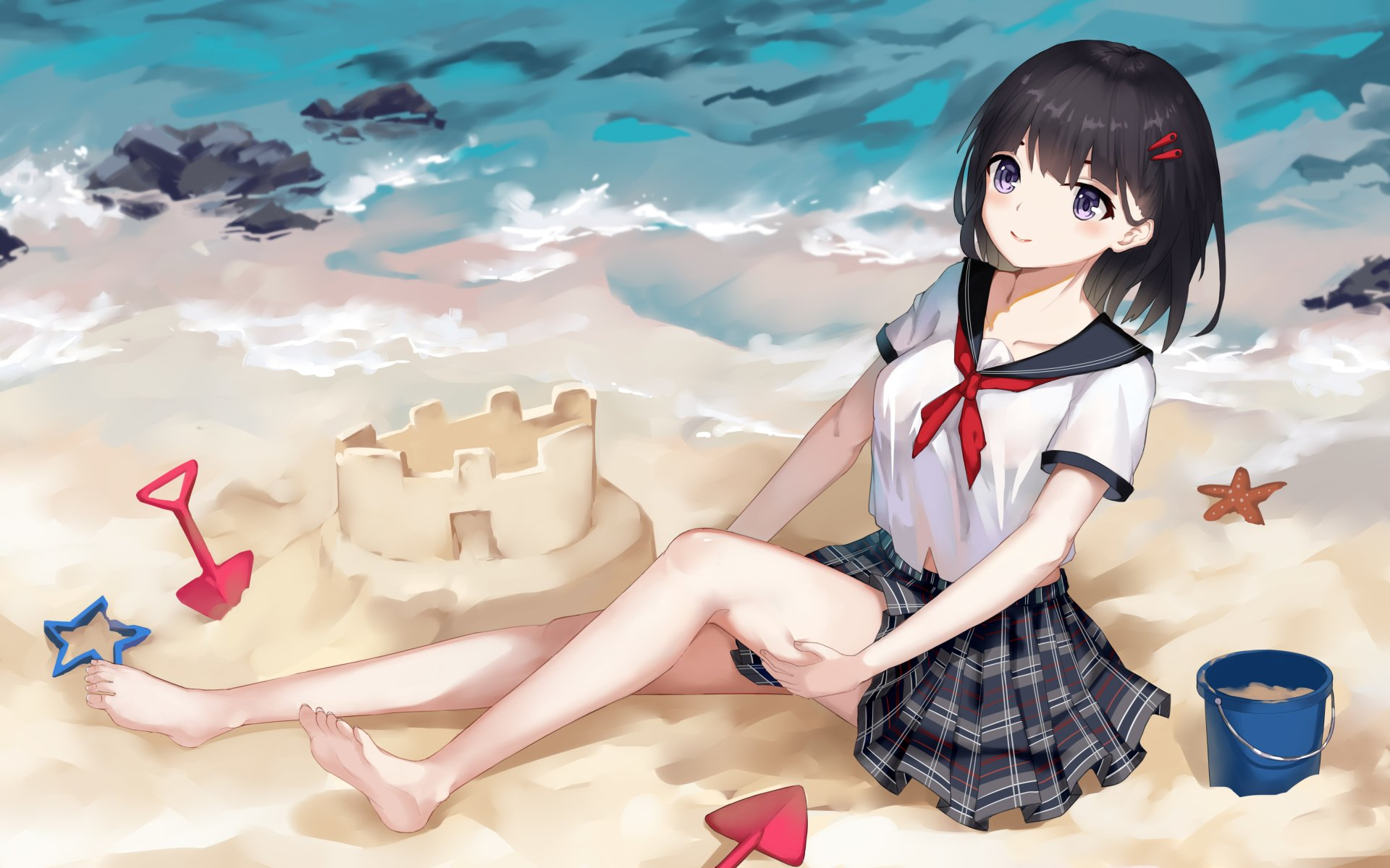 Anime Girls Beach Wallpaper HD 4k