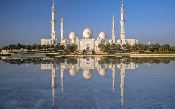 Religious Sheikh Zayed Grand Mosque Mosques Reflection Abu Dhabi Mosque Architecture HD Wallpaper   Background Image