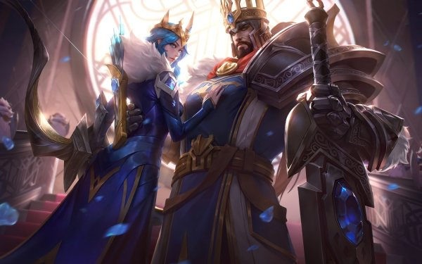 Video Game League Of Legends Girl Sword Armor Weapon Blue Eyes Crown Man Tryndamere Ashe HD Wallpaper | Background Image
