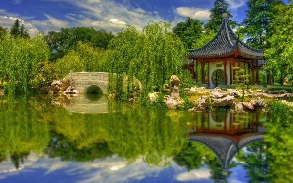 Photography Park Botanical Garden Pond Bridge Stone Pagoda Greenery HD Wallpaper   Background Image