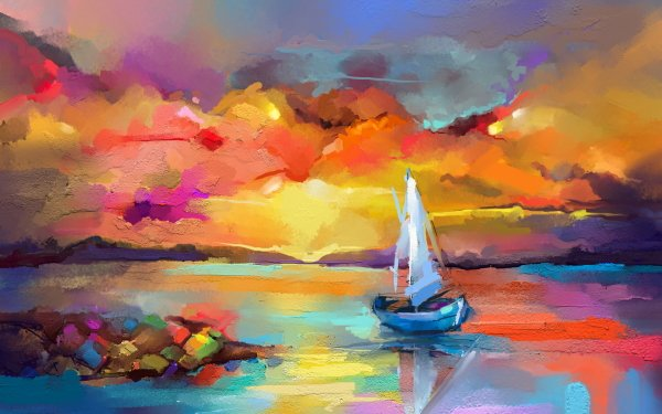 Artistic Painting Sea Dawn Sail Boat Paint HD Wallpaper | Background Image
