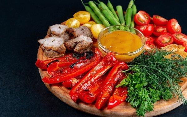 Alimento Barbacoa Carne Pimienta Vegetable Sauce Fondo de pantalla HD | Fondo de Escritorio
