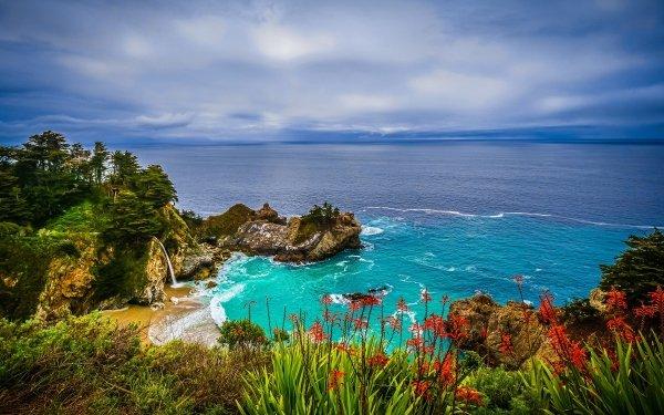 Earth Big Sur Flower Ocean Rock Coast Waterfall HD Wallpaper   Background Image