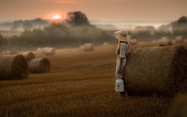 Photography Child Sunset Fog Haystack HD Wallpaper   Background Image