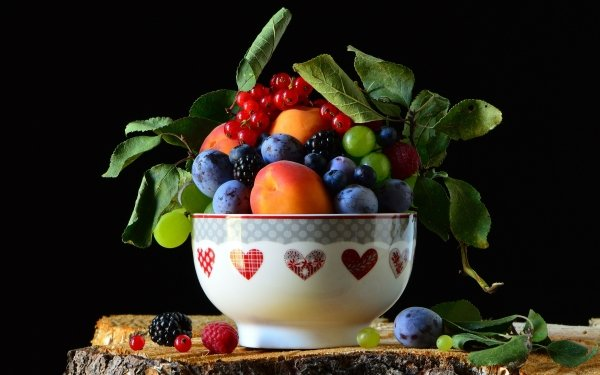 Food Still Life Blueberry Blackberry Raspberry Plum Nectarine Grapes Currants HD Wallpaper   Background Image