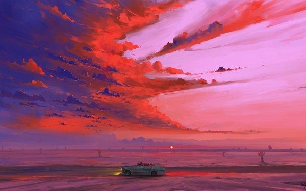 Artistic Landscape Sunrise Desert Car Sky HD Wallpaper   Background Image