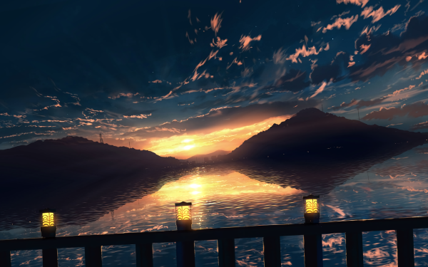 Anime Original Agua Hill Atardecer Nube Fondo de pantalla HD | Fondo de Escritorio