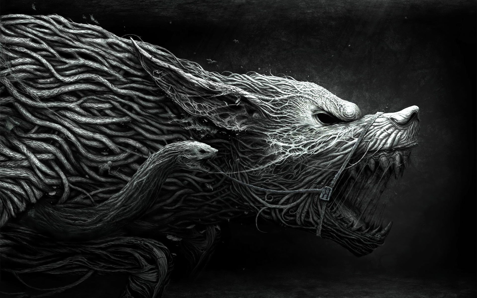 Dark - Werewolf  Dark Animal Fantasy Creature Snake Black Creepy Wallpaper