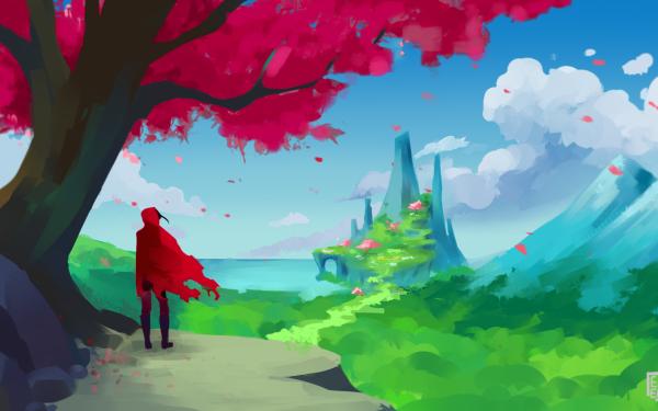 Fantasy Fairy Tale Traveler Cloak Spring Forest Mountain Castle HD Wallpaper | Background Image