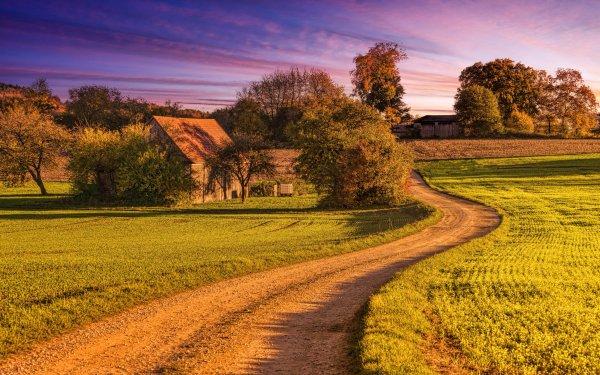 Man Made Road Barn Landscape Dirt Road HD Wallpaper | Background Image