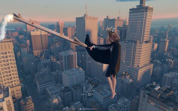 Anime Girl City Rocket HD Wallpaper | Background Image