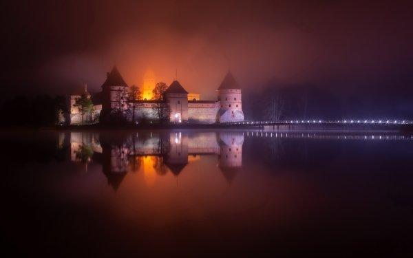 Man Made Trakai Island Castle Castles Trakai Castle Night Lithuania Lake HD Wallpaper | Background Image