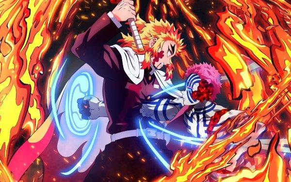 Anime Demon Slayer: Kimetsu no Yaiba Kyojuro Rengoku Akaza Fondo de pantalla HD | Fondo de Escritorio