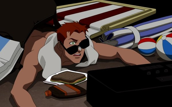 TV Show Young Justice Wally West Red Hair Sunglasses Green Eyes Sandwich HD Wallpaper | Background Image