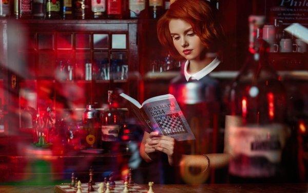 Women Cosplay Model Lipstick Short Hair Redhead The Queen's Gambit Wiktoria Gajzler HD Wallpaper | Background Image
