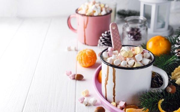 Food Marshmallow Hot Chocolate Mug Mandarin HD Wallpaper | Background Image