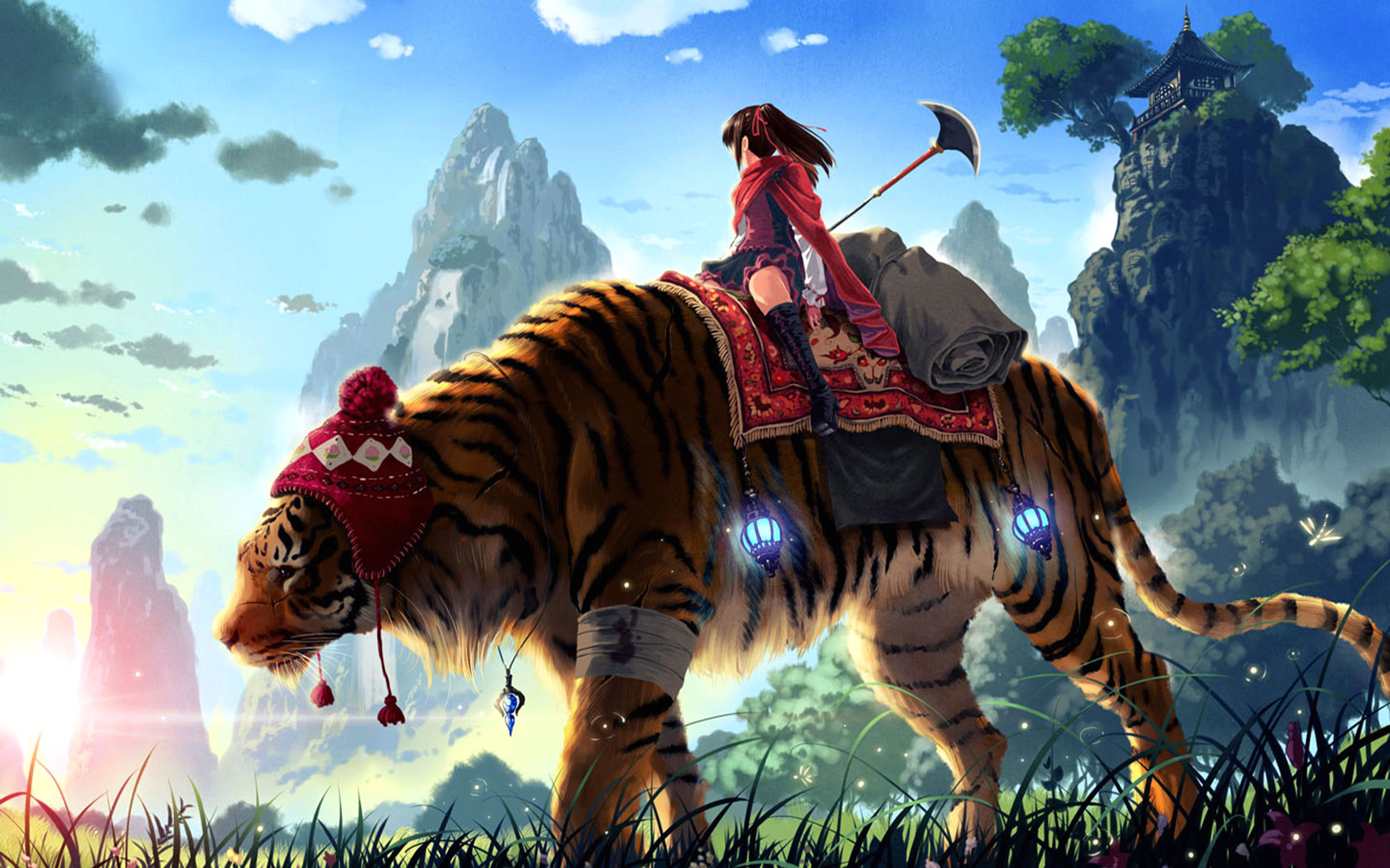 Anime - Unknown  - Girl - Tiger - Journey Wallpaper