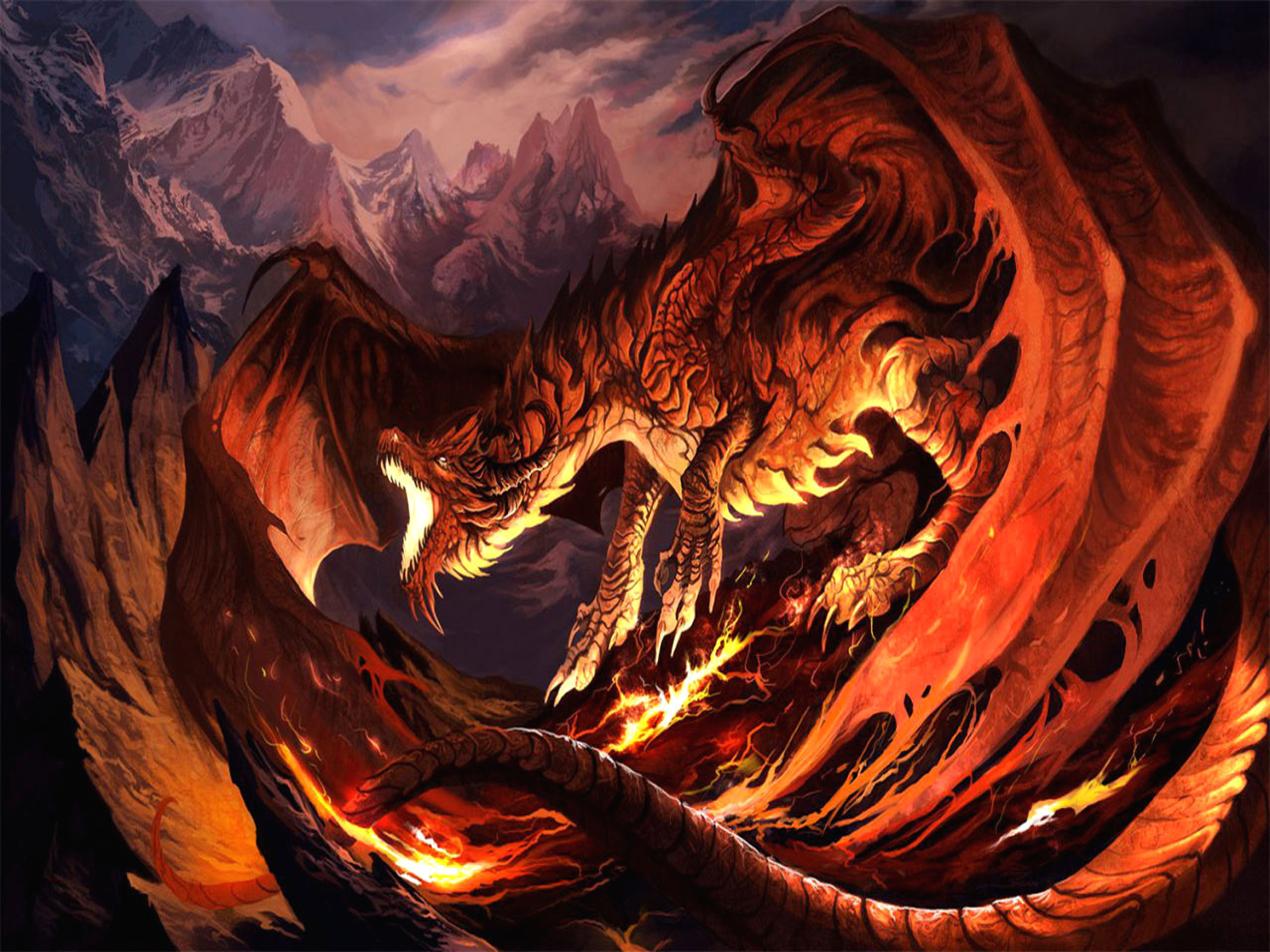 Fantasy - Dragon  Fire Orange Black Red Wings Wallpaper