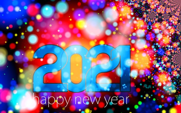 Holiday New Year 2021 Happy New Year Fractal Colorful HD Wallpaper | Background Image