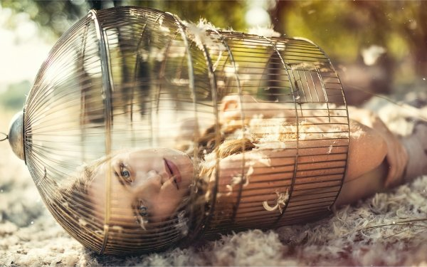 Women Model Models Cage Feather Blue Eyes Blonde Outdoor HD Wallpaper | Background Image