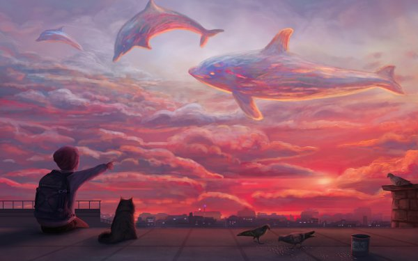 Fantasy Child Dolphin Cat Sky Sunset Cloud HD Wallpaper | Background Image