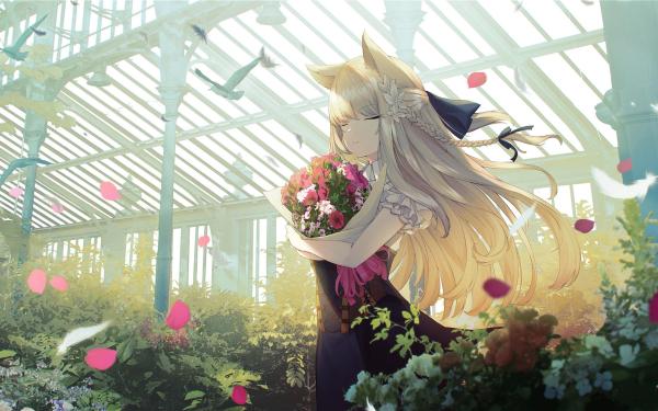 Anime Girl Animal Ears Flower Long Hair White Hair Greenhouse HD Wallpaper | Background Image