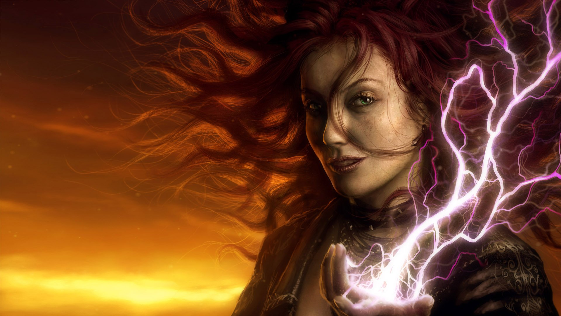 Fantasy - Witch  - Dark - Woman - Magic - Lightning - Redhead - Sunset - Electricity - Fantasy Wallpaper