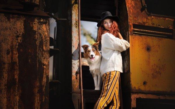 Women Model Models Dog Hat Border Collie HD Wallpaper   Background Image