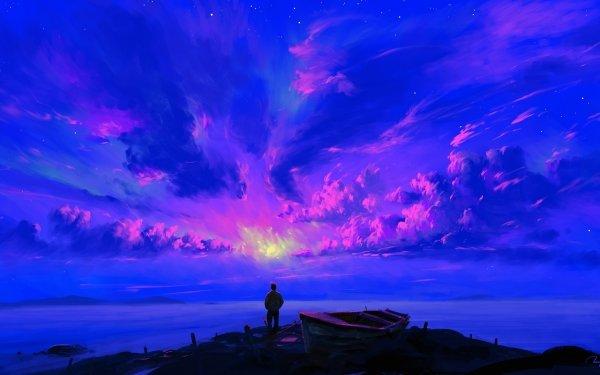 Artistic Sky Landscape Night Boat HD Wallpaper   Background Image