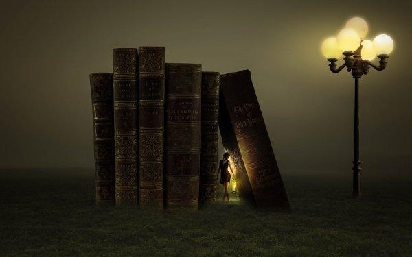 Fantaisie Book Woman Lamp Fond d'écran HD   Arrière-Plan