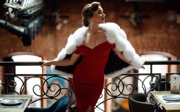 Women Model Models Red Dress Brunette Fur Lipstick HD Wallpaper | Background Image