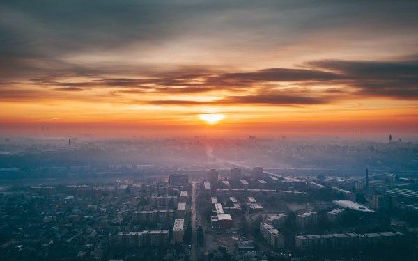 Man Made Kaunas Cities Sunset City Lithuania Horizon HD Wallpaper | Background Image