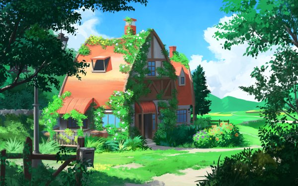 Anime Landscape House HD Wallpaper | Background Image