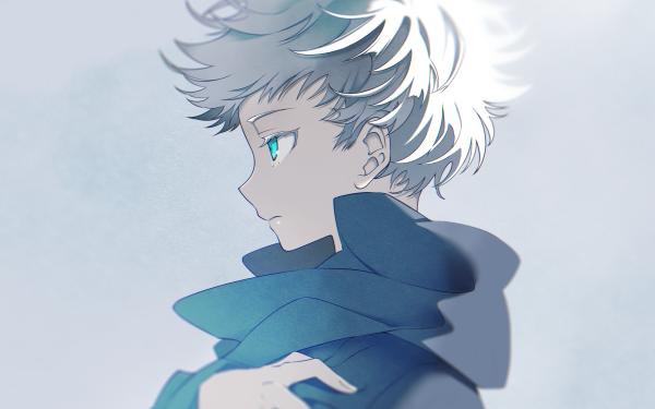 Anime Jujutsu Kaisen Satoru Gojo White Hair Blue Eyes School Uniform HD Wallpaper   Background Image