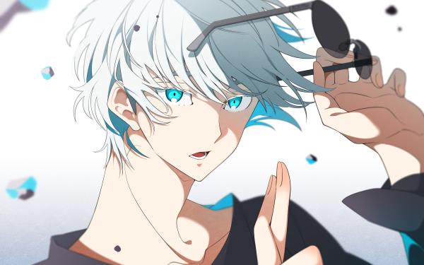 Anime Jujutsu Kaisen Satoru Gojo White Hair Blue Eyes Glasses School Uniform HD Wallpaper   Background Image