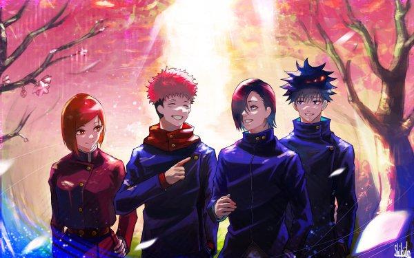 Anime Jujutsu Kaisen Yuji Itadori Pink Hair School Uniform Boy Megumi Fushiguro Black Hair Nobara Kugisaki Brown Hair Brown Eyes Girl Blue Hair Blue Eyes Junpei Yoshino HD Wallpaper | Background Image