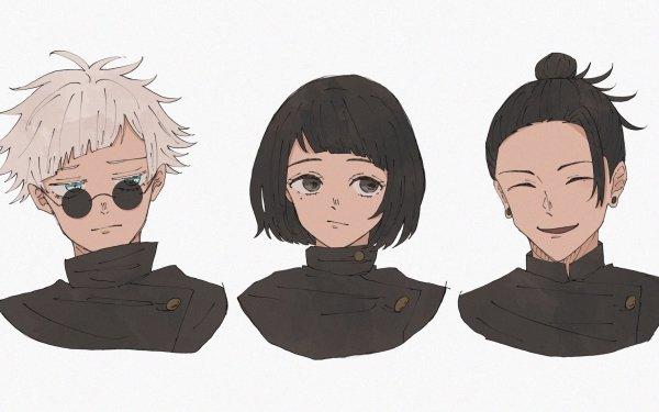 Anime Jujutsu Kaisen Satoru Gojo Suguru Geto Shoko Ieiri Black Hair White Hair Blue Eyes School Uniform Glasses HD Wallpaper | Background Image