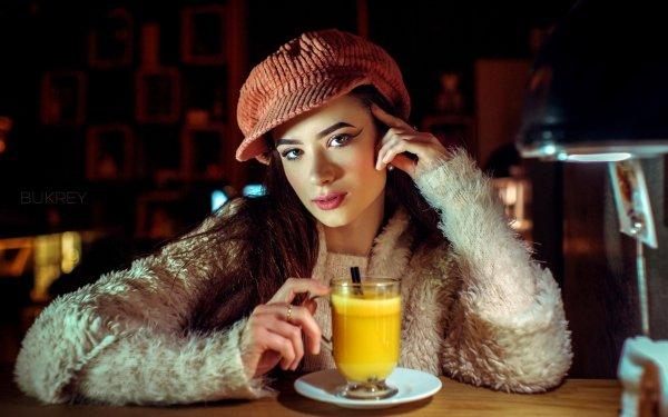 Mujeres Cara Woman Modelo Hat Bebida Morena Fondo de pantalla HD | Fondo de Escritorio