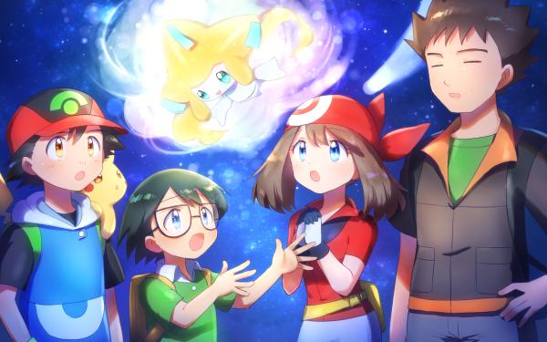 Anime Pokémon: Jirachi—Wish Maker Pokémon Ash Ketchum Max May Pikachu Brock Jirachi Chico Chica Cap Glasses Fondo de pantalla HD | Fondo de Escritorio