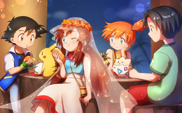 Anime Pokémon: La Película 2000 Pokémon Ash Ketchum Togepi Pikachu Tracey Misty Chico Chica Fondo de pantalla HD | Fondo de Escritorio