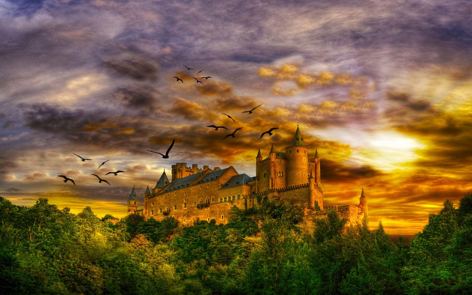 Fantasy - Slott  Magnificent Castle Bakgrund