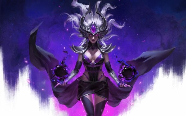 Video Game League Of Legends White Hair Syndra HD Wallpaper | Background Image