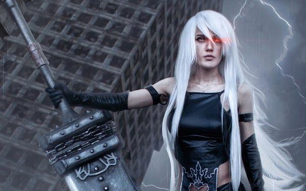 Women Cosplay NieR: Automata Long Hair White Hair HD Wallpaper   Background Image
