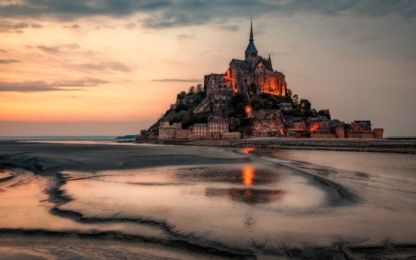 Religious Mont Saint-Michel France Monastery HD Wallpaper | Background Image