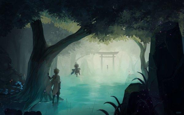 Video Game Genshin Impact Aether Kazari Paimon HD Wallpaper | Background Image