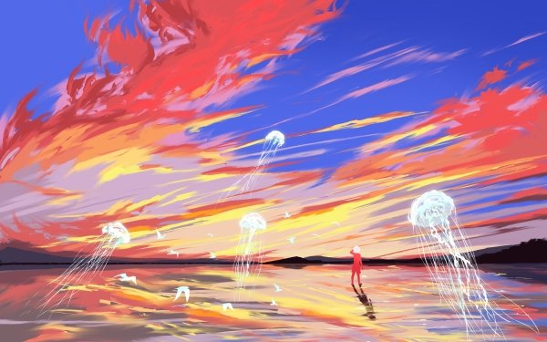 Anime Boy Jellyfish Sky HD Wallpaper   Background Image