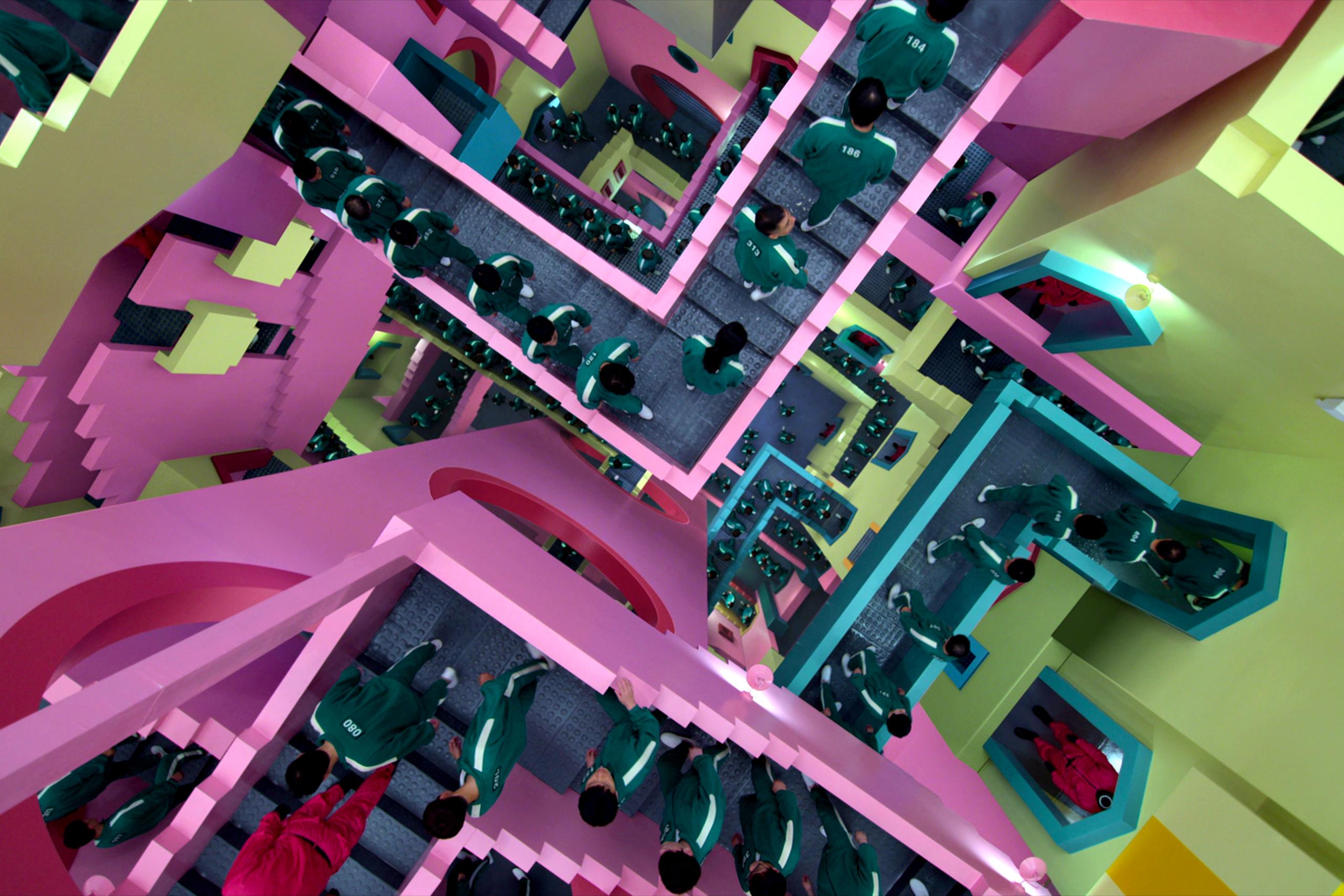 Squid Game Stairs Teams Background