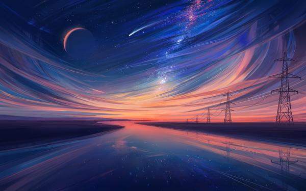 Artistic Landscape Sky River Power Line Moon HD Wallpaper | Background Image